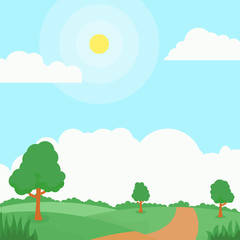 Fotorolgordijn Lichtblauw Nature landscape cartoon illustration with some trees, road, green grass and bright sky