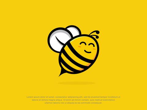happy bee logo. character. modern design. vector illustration