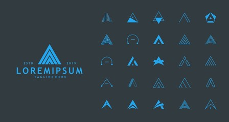 Minimalist letter A logo collection