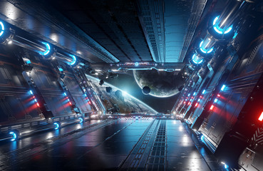 Fototapete - Blue and red futuristic spaceship interior with window view on planets 3d rendering