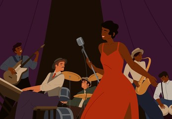Diverse jazz band with black skin cartoon female singer vector graphic illustration. Group of musicians playing by musical instrument performing on stage. Play on saxophone, piano, drum, guitar Fotomurales