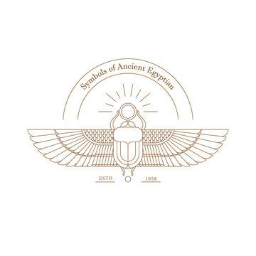 Vector illustration logo of the Egyptian scarab beetle, personifying the god Hepri.