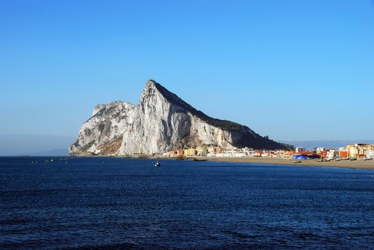 The Rock of Gibraltar viewed from La Atunara, Spain.