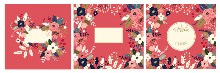 Beautiful romantic flower collection with roses, leaves, floral bouquets, flower compositions. Floral invitations and cards Fotomurales