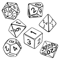 collection of dice for role-playing games isolated on white background hand drawn vector illustration sketch