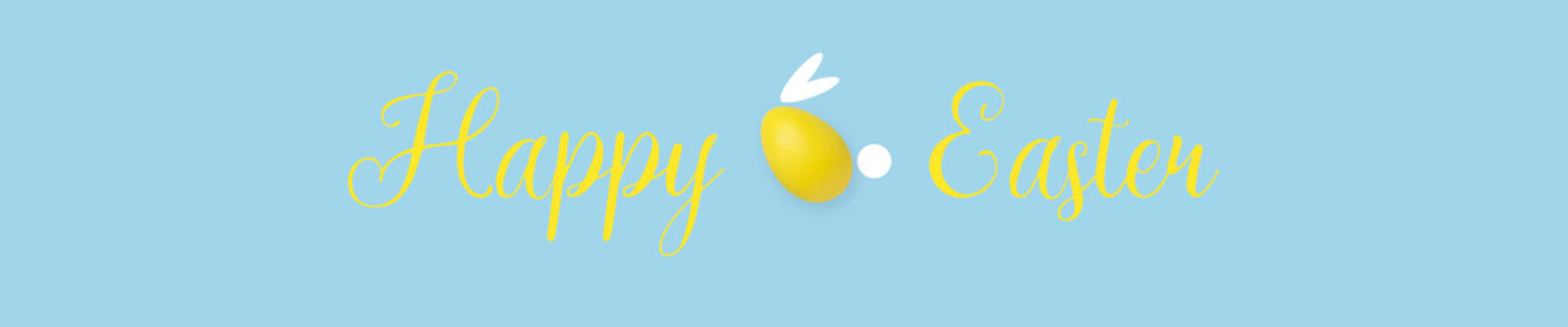 """The inscription """"Happy Easter"""" on a blue background. Egg in the form of a bunny."""