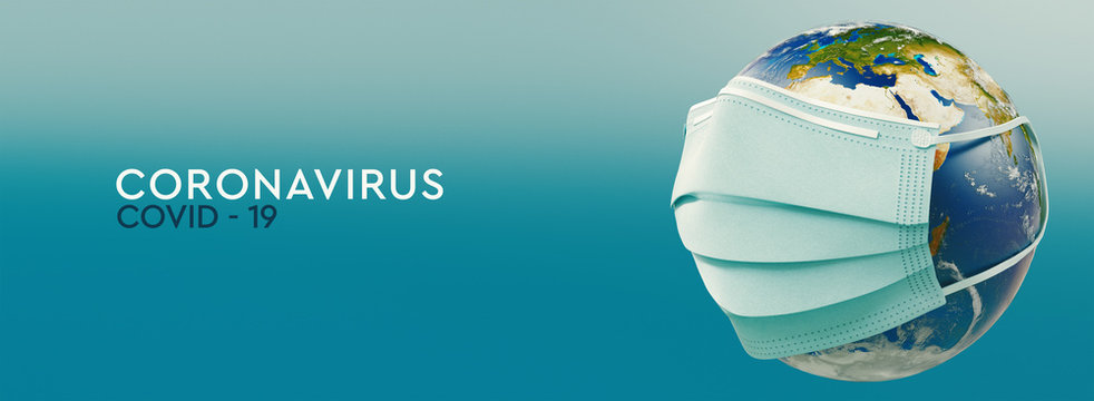 High resolution banner Coronavirus. Earth planet in medical protective mask. Dangerous asian ncov corona virus. Text on teal background. 3d rendering