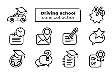 Driving school, auto education line icons big set. Black online car study simple elements collection isolated on white. Editable stroke. Vector illustration for web, design, app, advert, social media Fototapete
