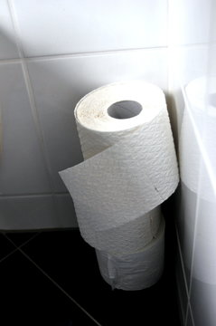 Toilet paper rolls at home of hoarder hoarding amidst panic buying for corona virus outbreak shortage.