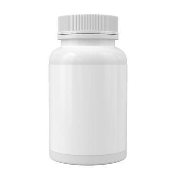 White medicine bottle mockup. Blank label vitamin template. Pills jar isolated on white.