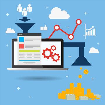 sales laptop funnel optimization web design vector eps 10