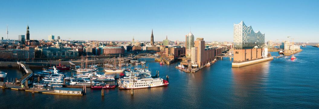 Port of Hamburg city panorama