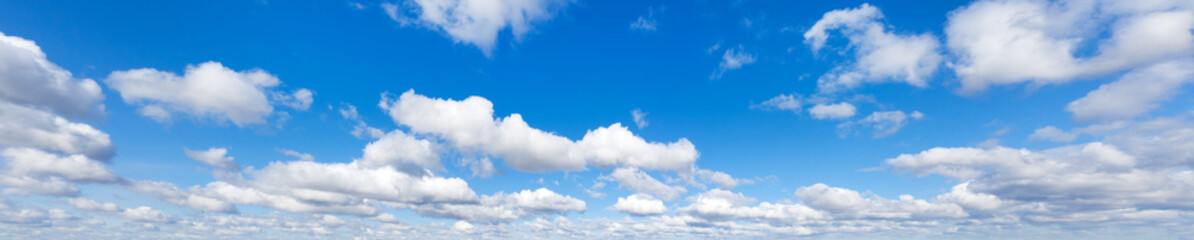 Sky with cloud on a sunny day. Panoramic fluffy cloud in the blue sky.  Wall mural