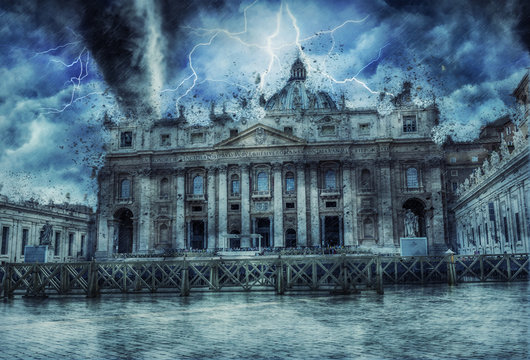 Tornado over Vatican City and St Peters Square