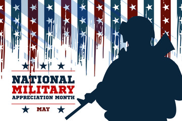 National Military Appreciation Month in May. Celebrated every May and is a declaration that encourages U.S. citizens to observe the month in a symbol of unity. Poster, card, banner, background design.