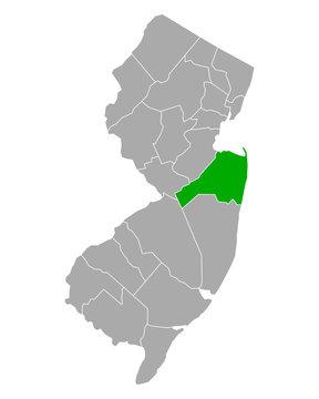 Karte von Monmouth in New Jersey