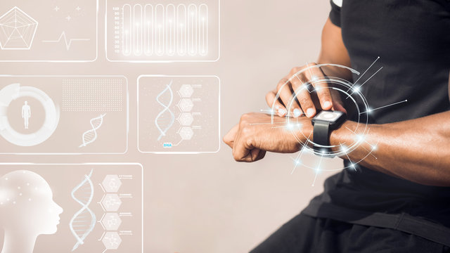 African American man using smartwatch fitness tracker on light background, collage with sports data on virtual screen