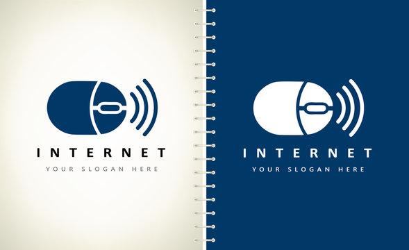 wireless computer mouse logo vector.