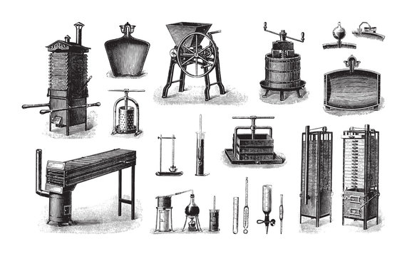 Old fruit processing machine / vintage illustration from Brockhaus Konversations-Lexikon 1908