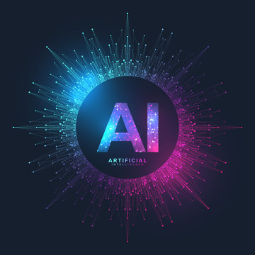 Artificial Intelligence Logo Plexus effect. Artificial Intelligence and Machine Learning Concept. Vector symbol AI. Neural networks and another modern technologies concepts. Technology sci-fi concept.