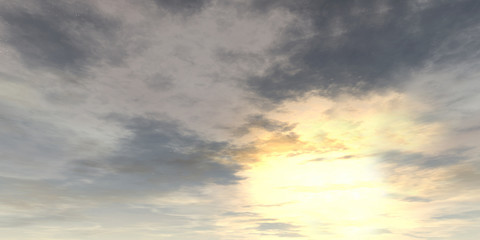 The sky and the sun. 3D rendering