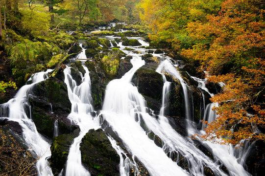 Autumn river - Swallow Falls, north Wales, Snowdonia - Betws-y-Coed, Gwynedd, Wales, United Kingdom, GB.