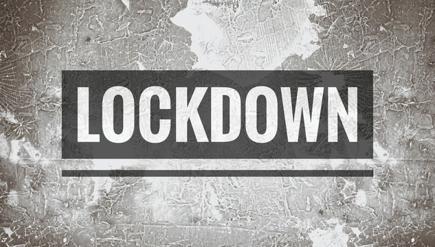 Lockdown world, lockdown text word written in black and white grunge background, home isolation for pandemic situation of corona virus infection of covid19