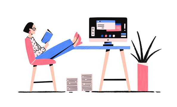 Cartoon relaxed woman reading book enjoying break vector flat illustration. Colorful female putting legs on desk with computer having procrastination isolated on white background. Lazy girl at office