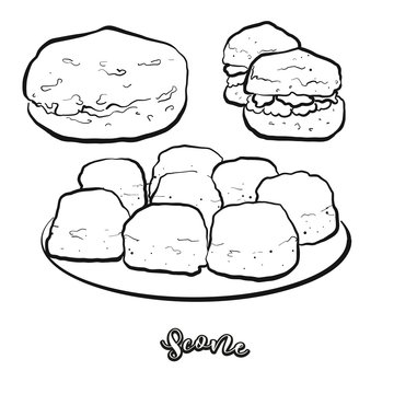 Scone food sketch separated on white