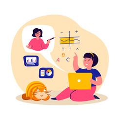 Online Education for Children.Student Girl Study,Homework, Tutor Teacher.Video Lesson in Laptop.Learning,Home Schooling.Coach Help Pupil in Internet