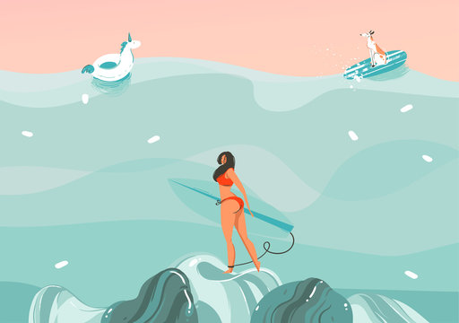 Hand drawn vector stock abstract graphic illustration with a funny sunbathing surfer girl with dog in ocean waves landscape,swimming and surfing isolated on colour background