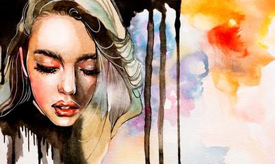 Woman in watercolor Wall mural