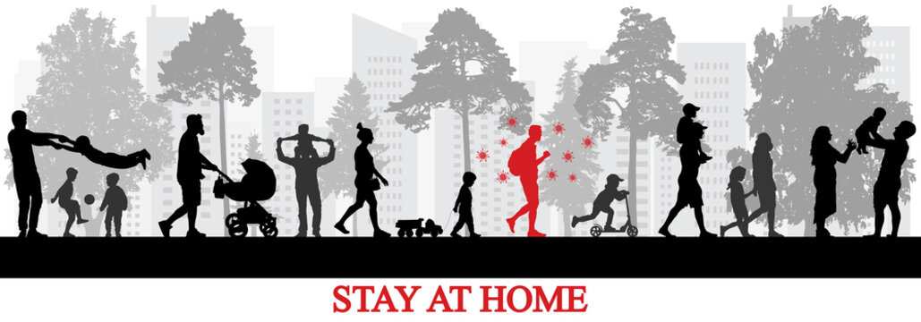 Infected person by coronavirus walking among healthy people in park. Stay at home to be healthy. Vector illustration.