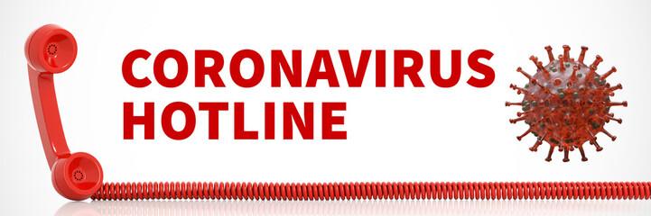 Coronavirus Hotline mit Covid-19 Virus und Telefon