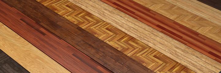 Obraz Verschiedenes Holz und Muster bei Parkett Verlegung - fototapety do salonu