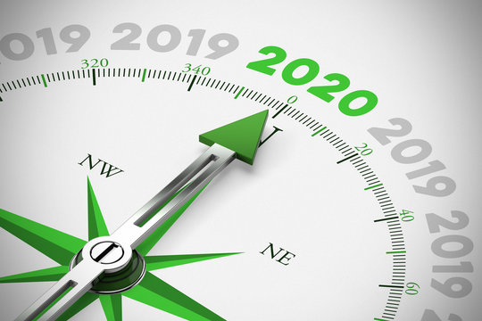 Pfeil von Kompass zeigt auf Jahr 2020