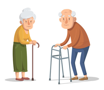 Couple of old people is standing with a walking frame and stick. Vector illustration.