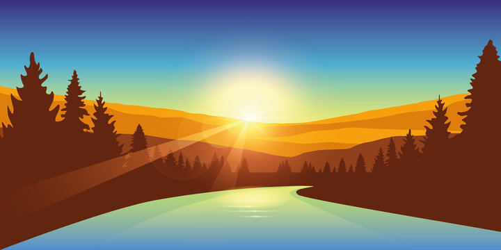 river in a forest at sunrise autumn outdoor adventure vector illustration EPS10