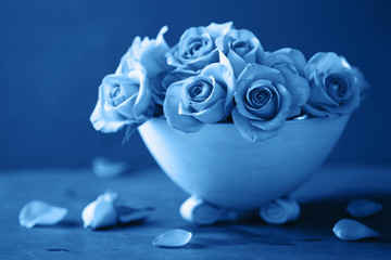 Wall Mural - trend color of the year 2020 classic blue. beautiful rose flowers in vase