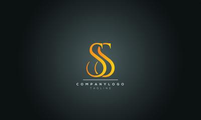 SS S Letter Logo Alphabet Design Template Vector