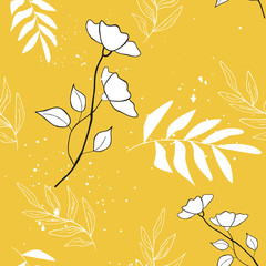 Garden Poster Retro sign cute floral seamless pattern