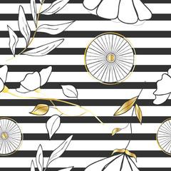Fotorollo Retro sign cute floral seamless pattern