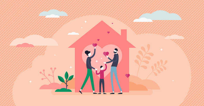 Home love vector illustration. Covid-19 stay home flat tiny persons concept.