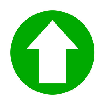arrow pointing up white in circle green for icon flat isolated on white, circle with up arrow for button interface app, arrow sign of next or download upload concept, arrow simple symbol for direction