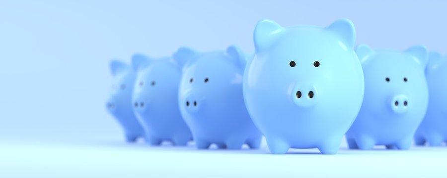 Blue Piggy bank for money saving