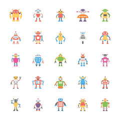 Robotic Flat Vector Icons Collection