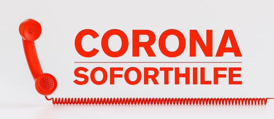 Rotes Telefon Corona Soforthilfe Hotline