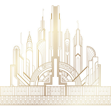 Stylized gold art deco illustration of the city on white background