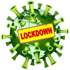 Papiers peints Draw Coronavirus Covid-19 World Lockdown Panel Vector illustration isolated on white