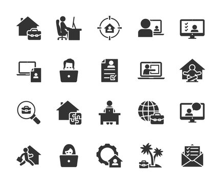 Vector set of remote work  flat icons. Contains icons working from home, interview online, freelance, search job, resume online, tasks online and more. Pixel perfect.